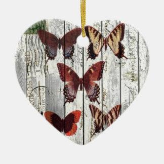 Ornement Cœur En Céramique papillon chic minable français en bois de grange