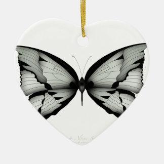 Ornement Cœur En Céramique Papillon sage alpin