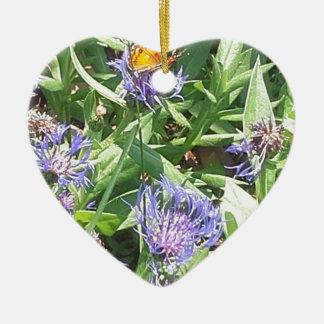 Ornement Cœur En Céramique Papillon sur Coneflower pourpre
