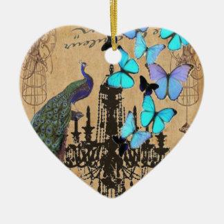 Ornement Cœur En Céramique papillon vintage moderne de bleu de paon de lustre