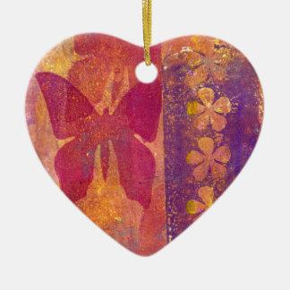 Ornement Cœur En Céramique Papillons et fleurs