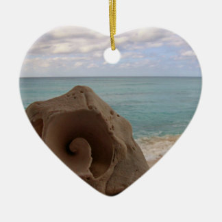 Ornement Cœur En Céramique Paradis de plage du coquillage |