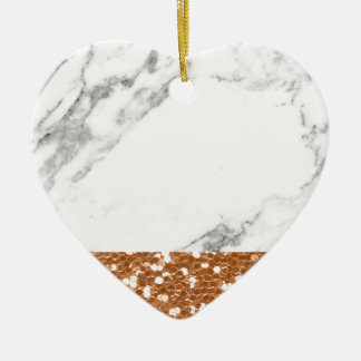 Ornement Cœur En Céramique Parties scintillantes roses d'or de marbre