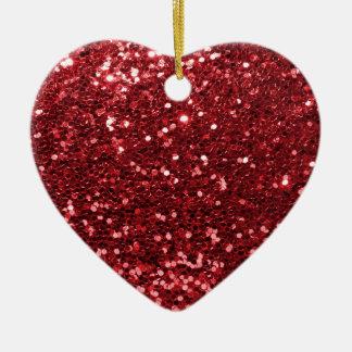 Ornement Cœur En Céramique Parties scintillantes rouges de Faux
