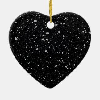 Ornement Cœur En Céramique Parties scintillantes Stars2 - Noir argenté