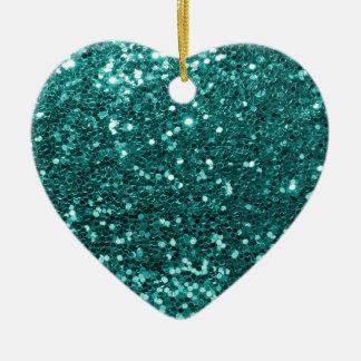 Ornement Cœur En Céramique Parties scintillantes turquoises chics de Faux
