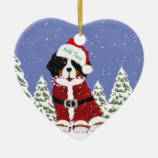 Ornement Cœur En Céramique Pattes faites sur commande de Père Noël de chien