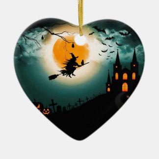 Ornement Cœur En Céramique Paysage de Halloween