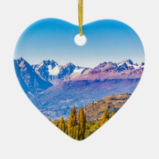 Ornement Cœur En Céramique Paysage de lac et de montagnes, Patagonia, Chili