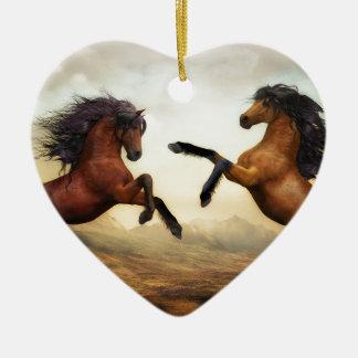 Ornement Cœur En Céramique Paysage de nature d'art numérique de chevaux