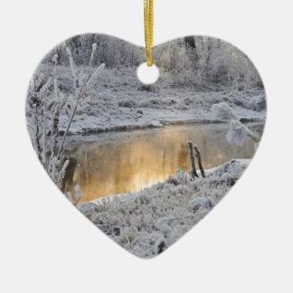 Ornement Cœur En Céramique Paysage de neige d'hiver de Noël