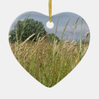 Ornement Cœur En Céramique Paysage d'été de champ sauvage dans la campagne
