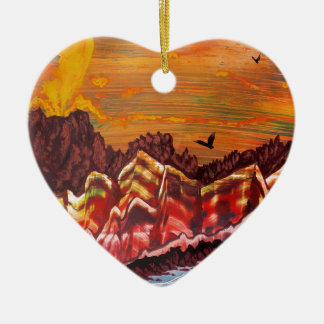 Ornement Cœur En Céramique Paysage du volcan de tabagisme