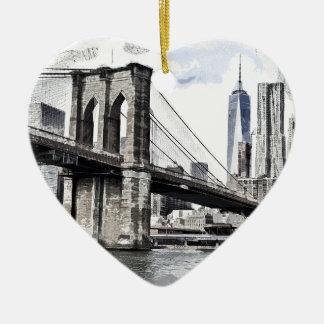 Ornement Cœur En Céramique Paysage urbain Etats-Unis de ville d'horizon