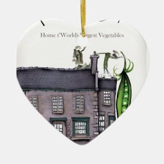 Ornement Cœur En Céramique Peapods de Yorkshire d'amour grands