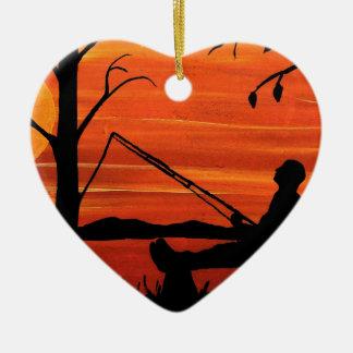 Ornement Cœur En Céramique Pêche allée