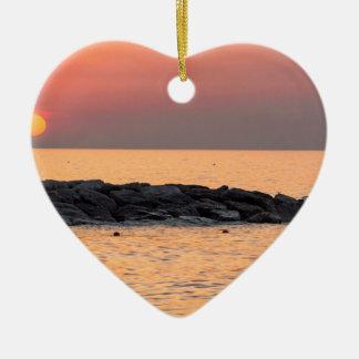 Ornement Cœur En Céramique Pêche d'homme au coucher du soleil