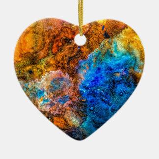 Ornement Cœur En Céramique Peinture colorée de texture abstraite de pierre
