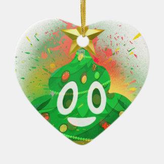 Ornement Cœur En Céramique Peinture de jet d'arbre de Noël d'Emoji