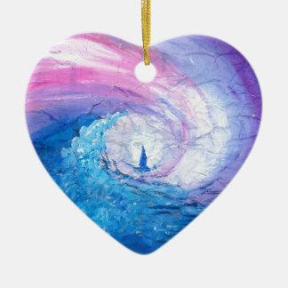 Ornement Cœur En Céramique Perdu dans les vagues, amusement de conception de