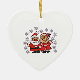 Ornement Cœur En Céramique Père Noël et Mme Claus