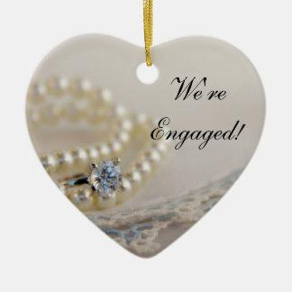 Ornement Cœur En Céramique Perles, anneau et fiançailles bleu de dentelle