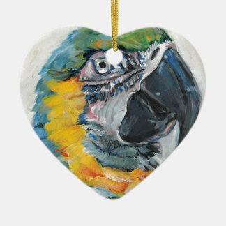 Ornement Cœur En Céramique Perroquet bleu