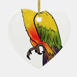 Ornement Cœur En Céramique Perroquet coloré