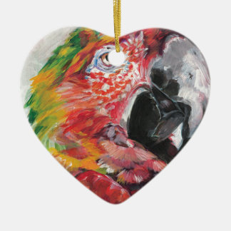 Ornement Cœur En Céramique Perroquet rouge