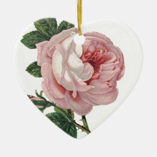 Ornement Cœur En Céramique Pétales de rose roses