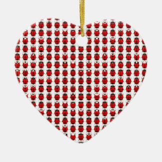 Ornement Cœur En Céramique Petites coccinelles rouges