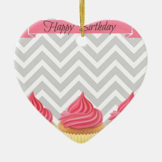 Ornement Cœur En Céramique Petits gâteaux de joyeux anniversaire