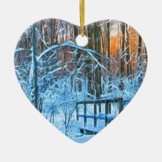 Ornement Cœur En Céramique Peu de pont dans les bois