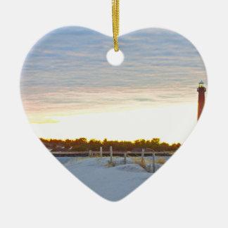Ornement Cœur En Céramique Phare au coucher du soleil