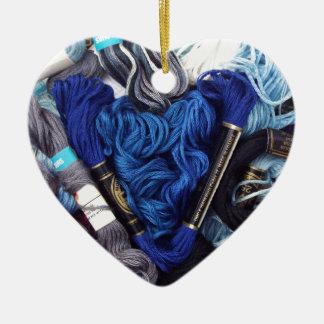 Ornement Cœur En Céramique Photographie mignonne de coeur bleu coloré de