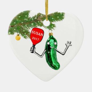 Ornement Cœur En Céramique pickleball personnalisé