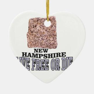 Ornement Cœur En Céramique Pierre du New Hampshire