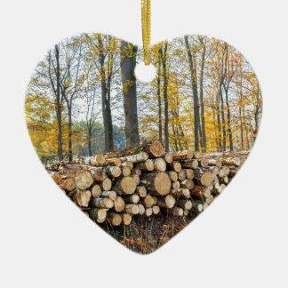 Ornement Cœur En Céramique Pile des troncs d'arbre dans la chute forest.JPG
