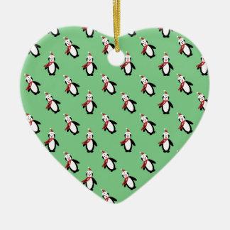 Ornement Cœur En Céramique Pingouin de Noël
