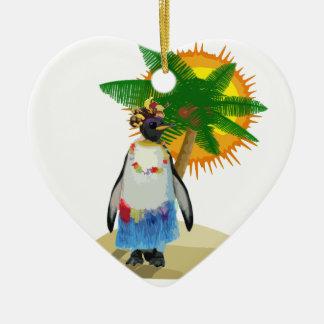 Ornement Cœur En Céramique Pingouin tropical