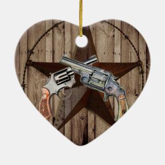 Ornement Cœur En Céramique pistolets rustiques de cowboy d'étoile de Texas de