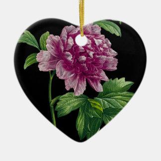 Ornement Cœur En Céramique Pivoine rose sur le noir