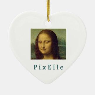 Ornement Cœur En Céramique Pixelle femme