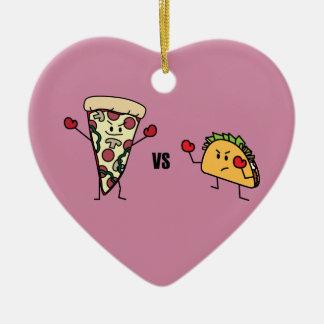 Ornement Cœur En Céramique Pizza de pepperoni CONTRE le taco : Mexicain