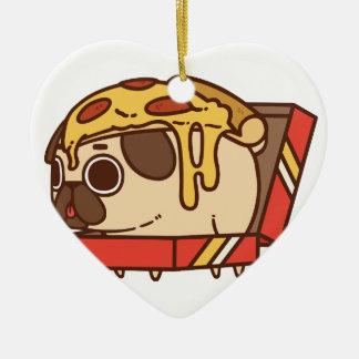 Ornement Cœur En Céramique Pizza Pug-01