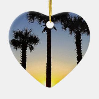 Ornement Cœur En Céramique Plage de ciel de palmier d'aube d'aube de lever de