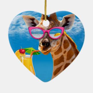 Ornement Cœur En Céramique Plage de girafe - girafe drôle