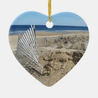 Ornement Cœur En Céramique Plage le Massachusetts de Salisbury
