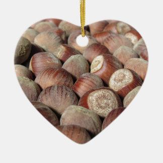 Ornement Cœur En Céramique Plan rapproché de fruit d'automne d'arrière - plan