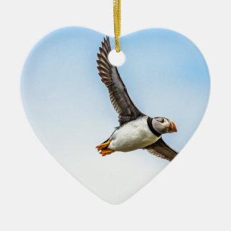 Ornement Cœur En Céramique Plume de mouche de faune de vol de mer d'oiseau de